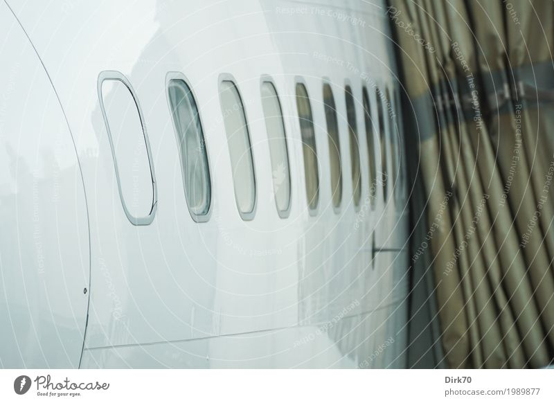 Vacation & Travel White Cold Airplane window Freedom Gray Brown Flying Transport Aviation Technology Wait Target Mobility Airport
