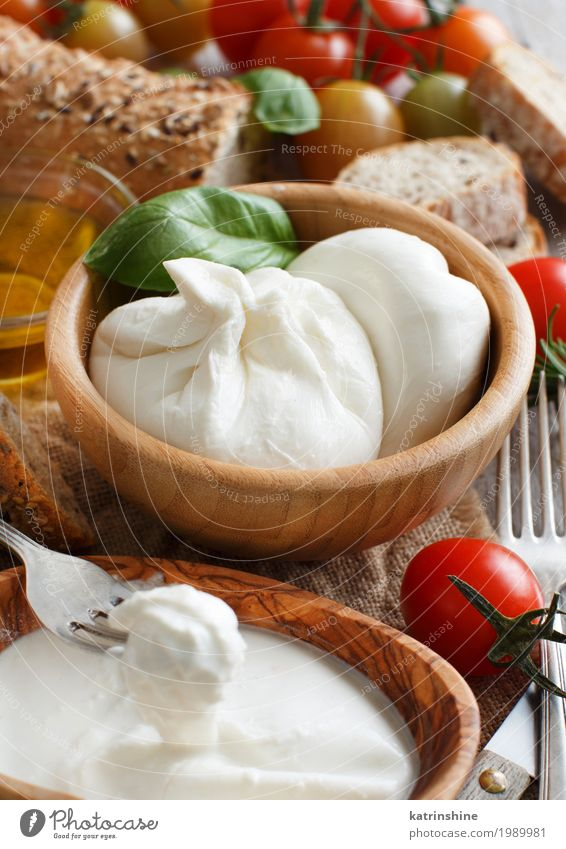 Italian cheese burrata, tomatoes, basil and bread Vegetable Bread Herbs and spices Nutrition Vegetarian diet Italian Food Fork Dark Bright Soft Green Red White