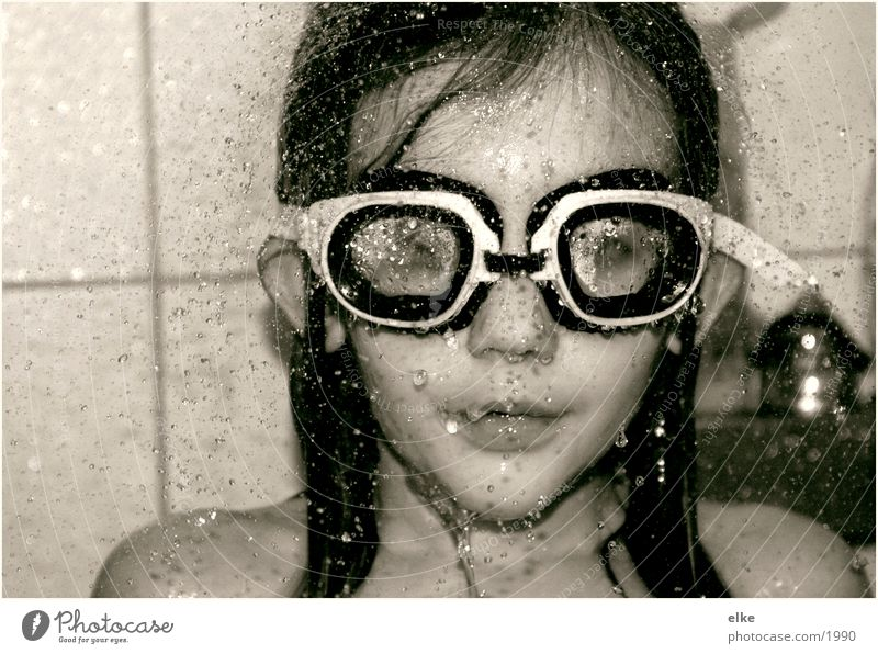to take a shower Diving goggles Girl Shower (Installation) Human being Water Take a shower