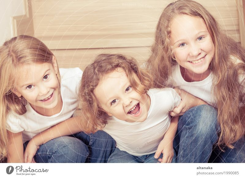 Portrait of happy children Human being Child Beautiful Hand House (Residential Structure) Joy Girl Life Lifestyle Love Boy (child) Family & Relations Small