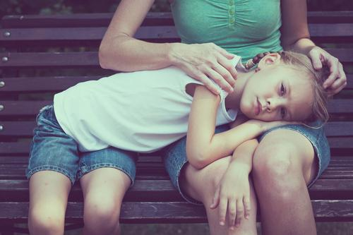 Sad mother and daughter sitting on bench in the park at the day time. Lifestyle Face Healthy Summer Child Human being Girl Woman Adults Parents Mother
