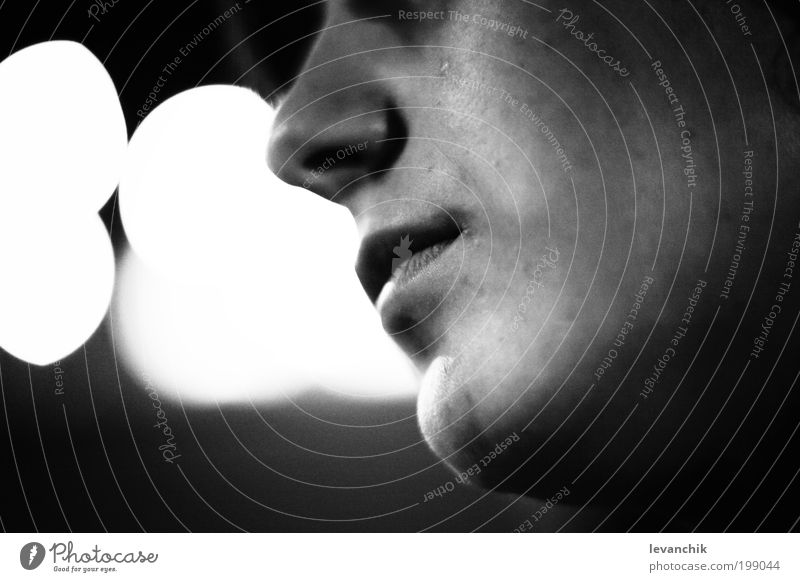 breath Beautiful Face 18 - 30 years Youth (Young adults) Adults Art Gray Black & white photo Macro (Extreme close-up) Night