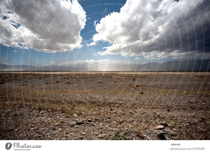 Nature Sky Blue Clouds Loneliness Far-off places Sand Landscape Brown USA Desert Dry Steppe Land Feature Nevada California