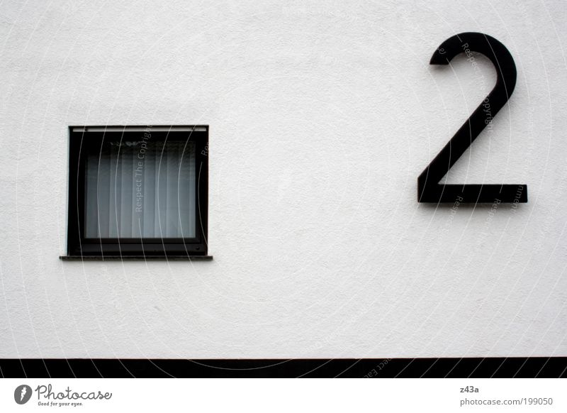 Only number two House (Residential Structure) Detached house Wall (barrier) Wall (building) Facade Window House number Concrete Simple Black White 2