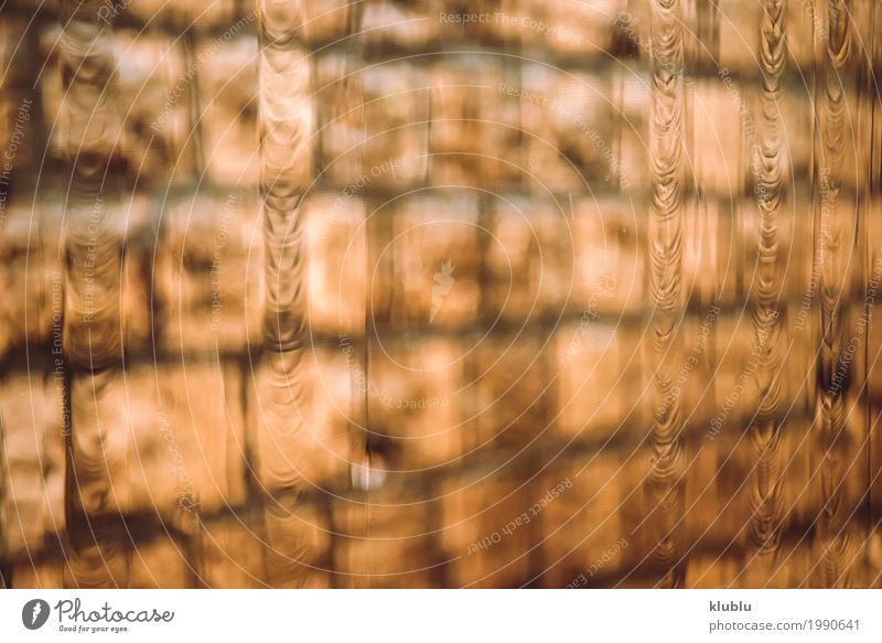 Brick wall through blurry glass Life House (Residential Structure) Weather Rain Architecture Street Wet Brown Asia brick bus Copy Space Hongkong Horizontal