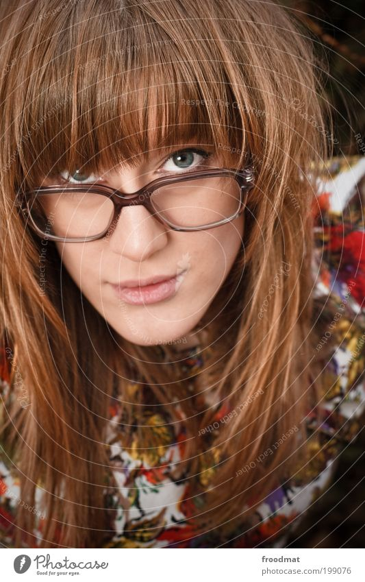 glasses for... Human being Feminine Young woman Youth (Young adults) Woman Adults Accessory Eyeglasses Blonde Long-haired Bangs Smiling Hip & trendy Beautiful