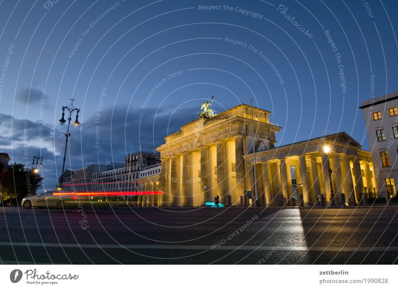 Brandenburg Gate Berlin Monument Germany Dynamics Capital city Tracer path Light painting Light show Vacation & Travel Travel photography Floodlight