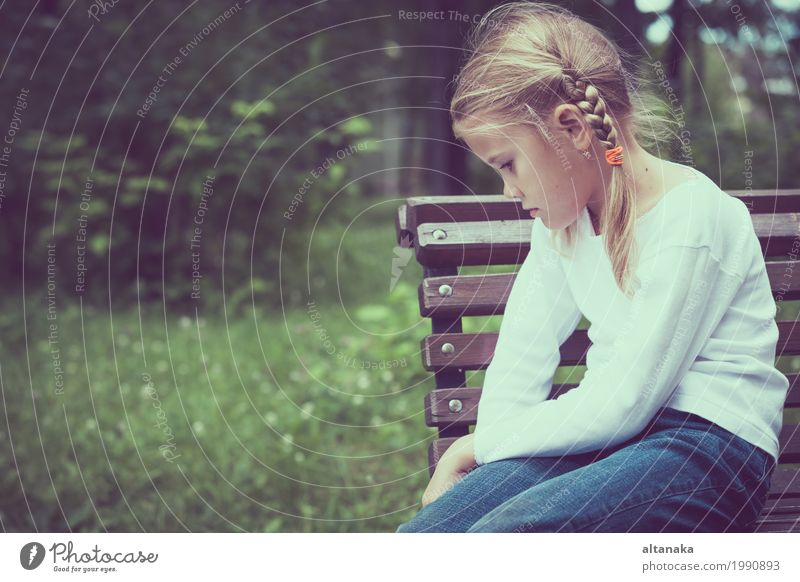 Portrait of sad little girl Face Child School Human being Girl Woman Adults Family & Relations Infancy Love Sadness Emotions Concern Grief Fatigue Pain Stress