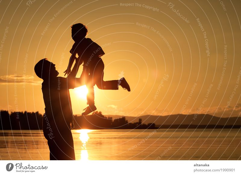 Father and son playing at the sunset time. Human being Child Nature Vacation & Travel Man Summer Sun Joy Beach Mountain Adults Lifestyle Love Sports Boy (child)