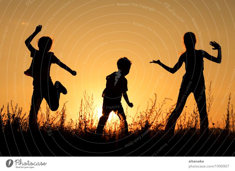 Happy children playing in the park Lifestyle Joy Leisure and hobbies Playing Vacation & Travel Trip Freedom Summer Sun Sports Child School Girl Boy (child)
