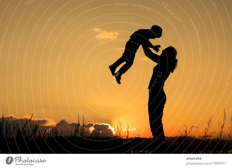 Mother and son playing at the sunset time. Human being Child Woman Nature Vacation & Travel Summer Sun Joy Beach Mountain Adults Lifestyle Love Sports Boy (child) Family & Relations