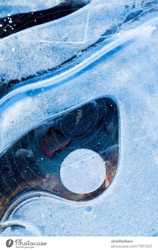 inconspicuous detail on the side of the road Environment Nature Elements Water Winter Ice Frost Freeze Cold Blue Calm Esthetic Business Uniqueness Pure