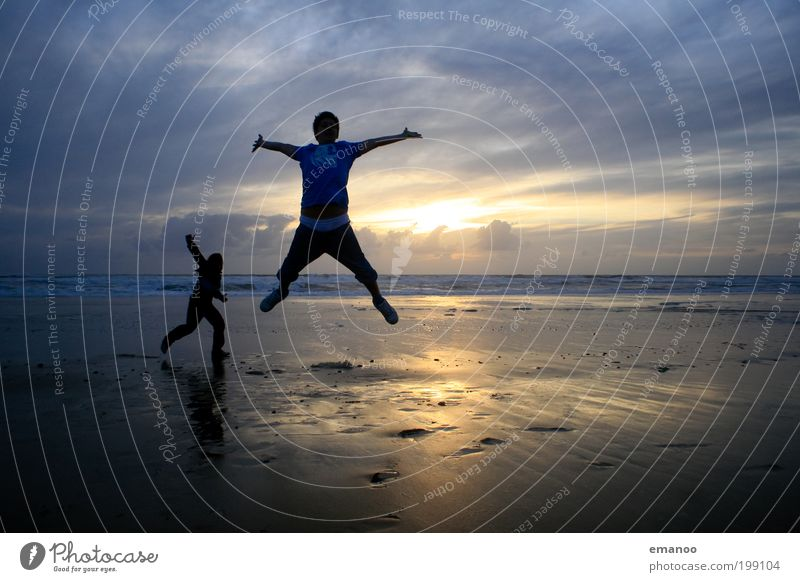 Human being Youth (Young adults) Vacation & Travel Sun Ocean Summer Beach Joy Clouds Far-off places Freedom Movement Coast Happy Jump Friendship