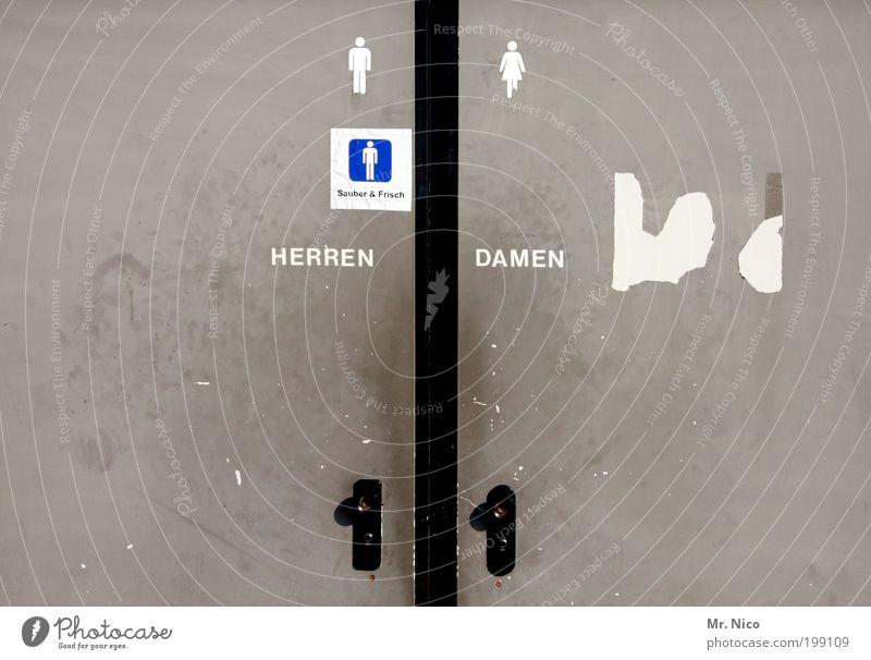 Gray Door Characters Sign Toilet Word Left Symbols and metaphors Right Partially visible Section of image Pictogram Sanitary facilities Ladies' bathroom Gentlemen's toilet Metal door