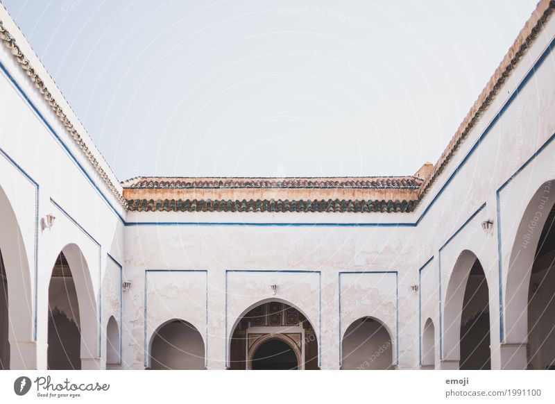 Morocco Sky Cloudless sky Palace Architecture Archway Interior courtyard Tourist Attraction Old Blue White Colour photo Subdued colour Exterior shot Deserted