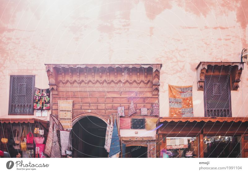 marrakech Village Town House (Residential Structure) Marketplace Wall (barrier) Wall (building) Facade Warmth Red Marrakesh Carpet store Colour photo
