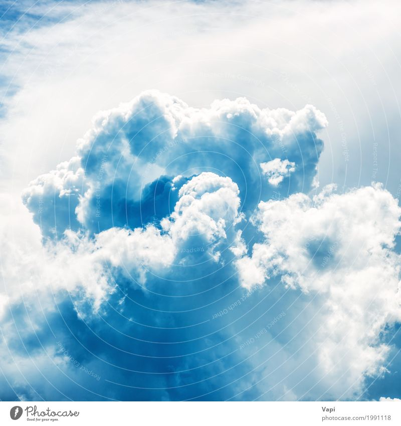 White fluffy clouds on blue sky Vacation & Travel Freedom Summer Wallpaper Environment Nature Landscape Sky Clouds Storm clouds Climate Climate change Weather