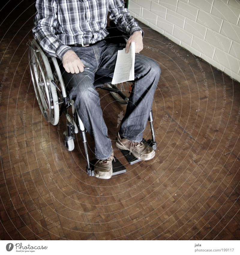 Human being Man Hand Life Wood Legs Adults Masculine Illness Shirt Barrier Accident Parquet floor Handicapped Wheelchair Disaster