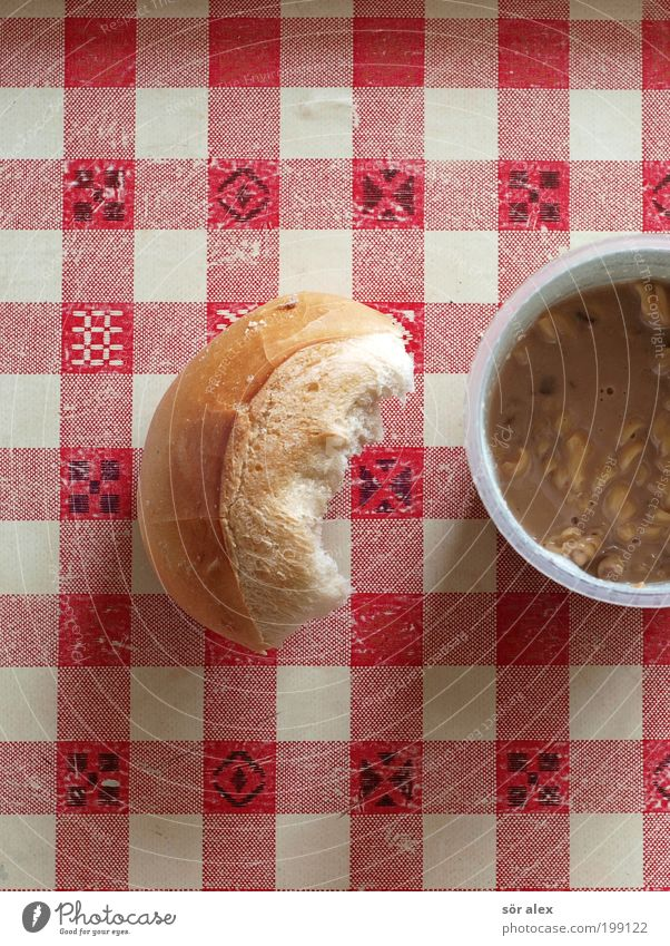 Warmth Food To enjoy Delicious Appetite Cup Still Life Meat Checkered Tablecloth Roll Noodles Mug Comfortable Snack Soup