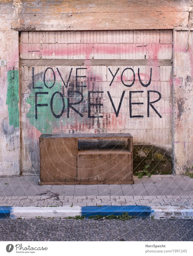 Wall (building) Graffiti Love Wall (barrier) Facade Romance Eternity Cool (slang) Manmade structures Furniture Old town Infatuation Under Trashy Desk Loyalty