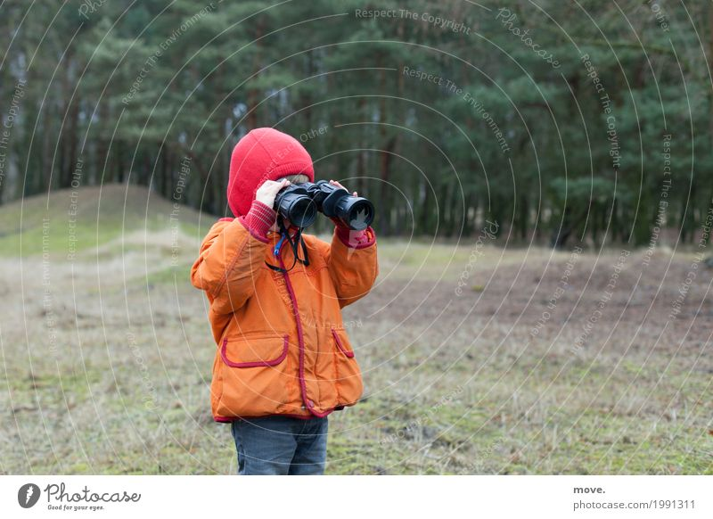 little boy looks through binoculars Style Joy Playing Tourism Sightseeing Science & Research Child Study Masculine Boy (child) Nature Binoculars Observe