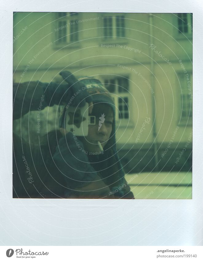 Winter House (Residential Structure) Snow Window Stars Camera Analog Polaroid Cigarette Cap Brunette Gloves Weather Clothing