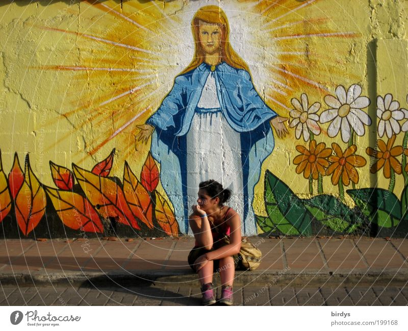 Youth (Young adults) Beautiful Summer Young woman 18 - 30 years Adults Wall (building) Life Graffiti Feminine Wall (barrier) Religion and faith Exceptional