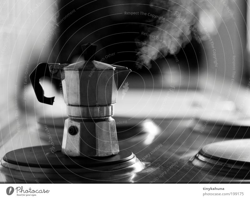 Full steam! To have a coffee Espresso Flat (apartment) Kitchen Stove & Oven Metal Drinking Wait Simple Hot Gray Black White Anticipation Fatigue To enjoy Steam