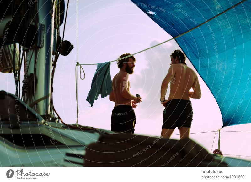 That's two men. Adventure Freedom Summer vacation Human being Masculine Young man Youth (Young adults) Friendship 2 18 - 30 years Adults Sailboat