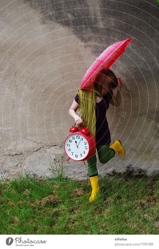 time is running out Human being Feminine Young woman Youth (Young adults) 1 13 - 18 years Child Movement To hold on Umbrella Alarm clock Clock Rubber boots