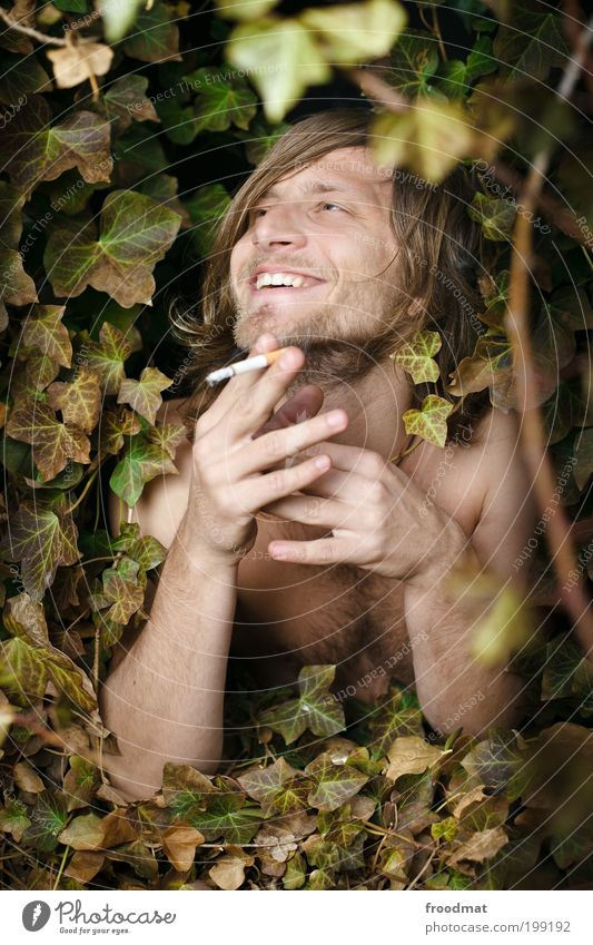 natural smile Joy Happy Smoking Human being Masculine Young man Youth (Young adults) Brunette Long-haired Designer stubble Hairy chest Smiling Laughter