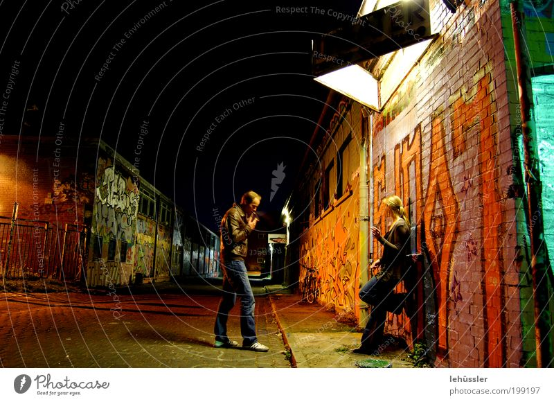 nightlife Human being Masculine Couple 2 18 - 30 years Youth (Young adults) Adults 30 - 45 years Downtown Industrial plant Wall (barrier) Wall (building) Street