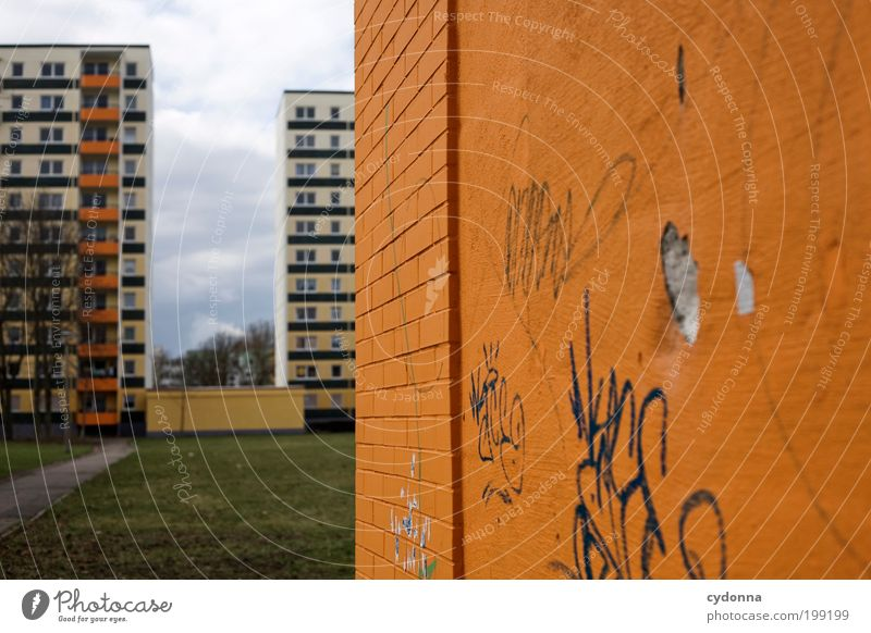 City Calm House (Residential Structure) Loneliness Life Meadow Wall (building) Style Dream Wall (barrier) Graffiti Architecture Design Environment Facade