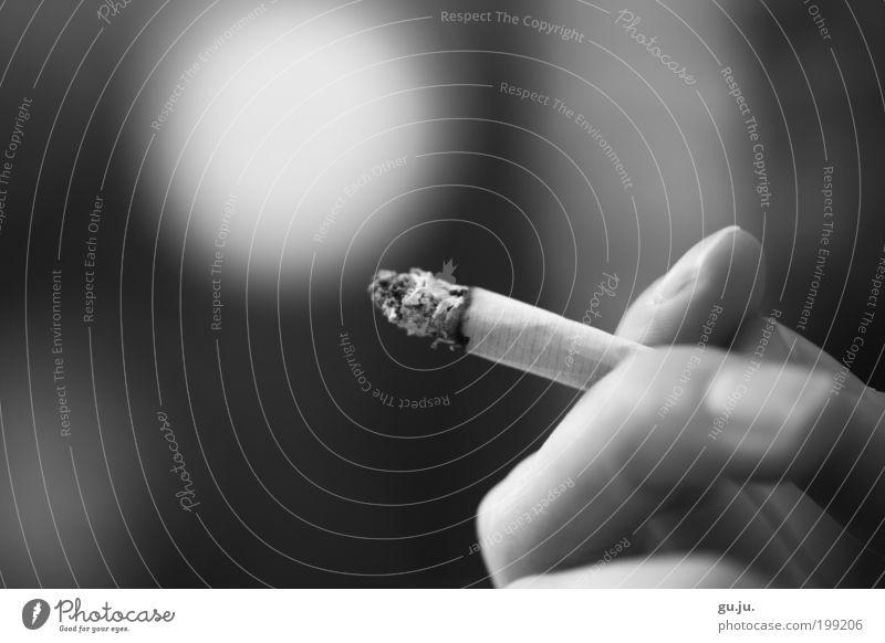 Smoking obligates! Relaxation Calm Fingers Fingernail Cigarette Ashes To enjoy Cool (slang) Black White Vice Search Dependence Addiction cigarette break Smoky