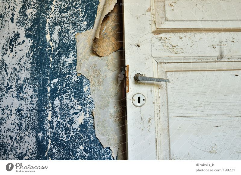 wallpaper shreds Old Blue White Loneliness House (Residential Structure) Wall (building) Wall (barrier) Door Time Room Background picture Dirty Interior design Paper Gloomy Retro