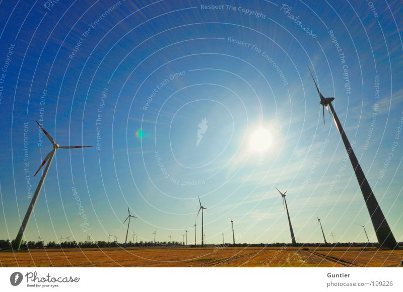 Sky Green Blue Summer Black Landscape Field Gold Energy Industry Energy industry Electricity Technology Climate Infinity Wind energy plant