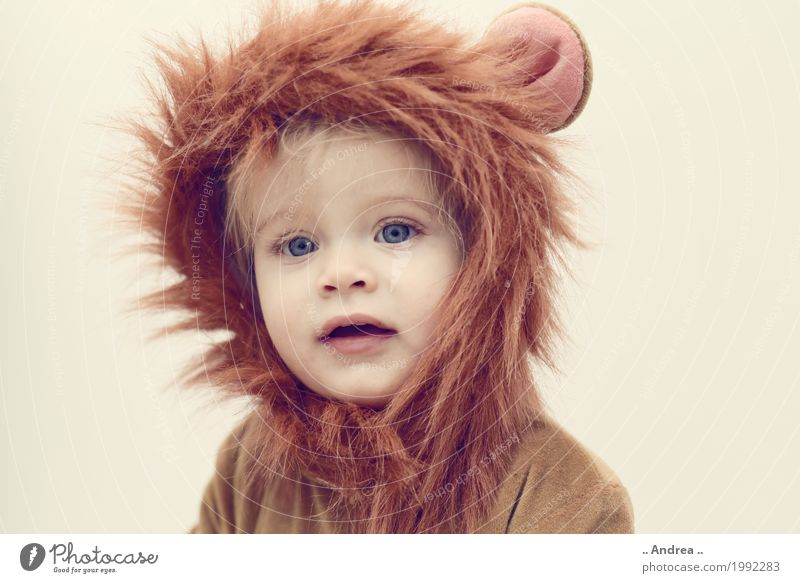 Human being Girl Feminine Party Infancy Clothing Carnival Toddler Kindergarten Party goer Carnival costume Hallowe'en Cuddly Lion Dress up Disguised