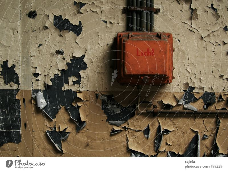Old Colour Dark Wall (barrier) Orange Metal Energy Industry Energy industry Electricity Technology Cable Change Transience Box Decline