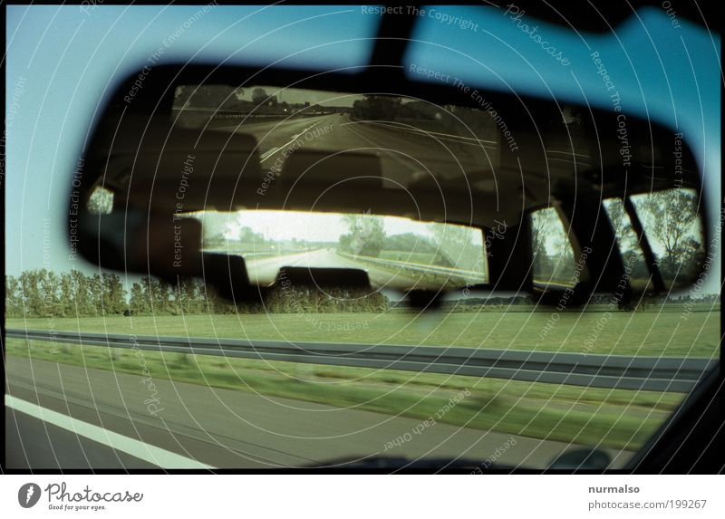 manual consideration Lifestyle Trip Far-off places Freedom Mirror Rear view mirror Windscreen green wedge Crash barrier Art Environment Landscape Field