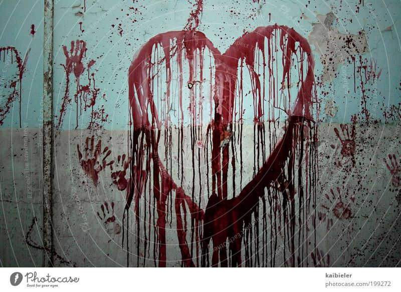 Blue Hand Red Love Wall (building) Graffiti Wall (barrier) Art Interior design Fear Heart Exceptional Decoration Threat Transience Sign