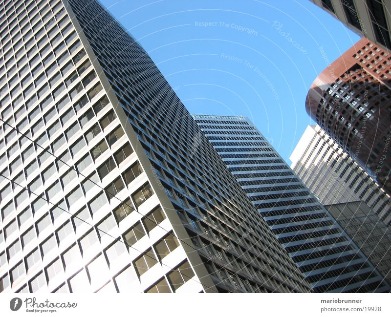 City Window Architecture Glass Facade Concrete Modern High-rise USA Upward Partially visible Section of image Office building Glas facade Skyward
