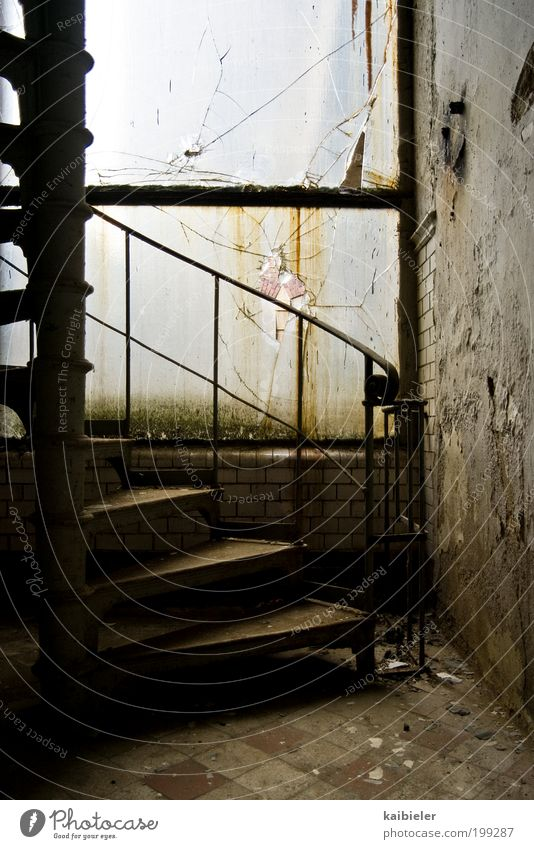graduated Industrial plant Factory Ruin Wall (barrier) Wall (building) Stairs Window Winding staircase Old Dirty Dark Historic Brown Yellow Loneliness Risk