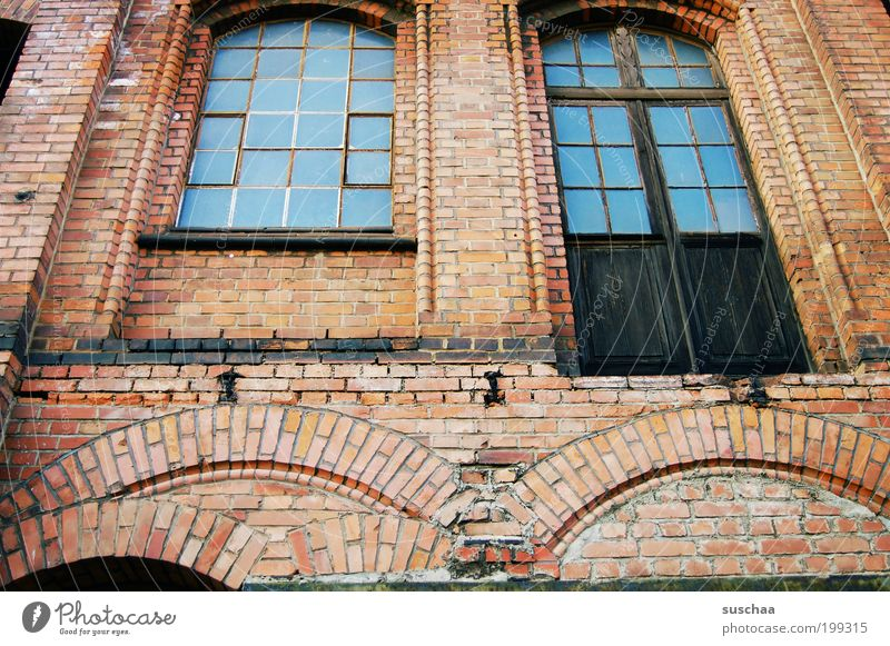 Blue windows House (Residential Structure) Industrial plant Factory Ruin Manmade structures Building Architecture Wall (barrier) Wall (building) Facade Stone