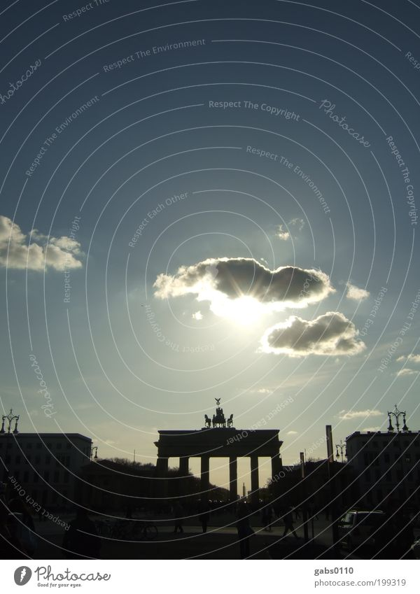 Berlin Berlin (#50) Observe Brandenburg Gate Germany Sky Clouds Sun Contrast Blue Black Vacation & Travel Travel photography Pariser Platz Unter den Linden