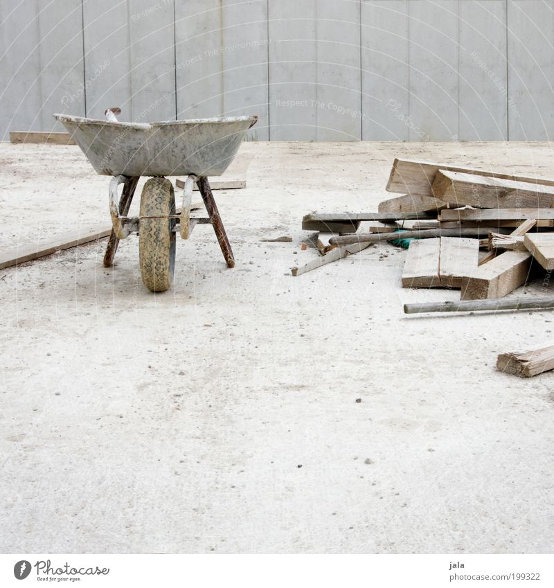 Work and employment Gray Concrete Construction site Craft (trade) Company Wooden board Build Tool Material Craftsperson Workplace Closing time Wheelbarrow