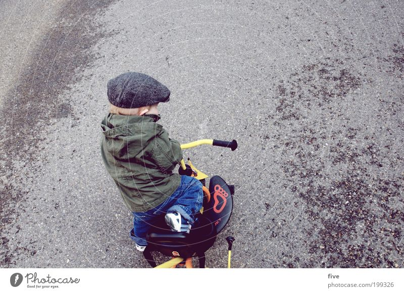 Human being Child Joy Street Playing Boy (child) Happy Infancy Contentment Bicycle Leisure and hobbies Masculine Study Happiness Driving Toddler