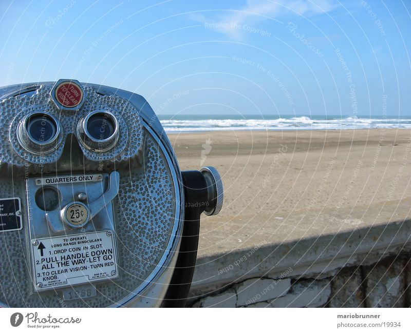 Ocean Beach Vacation & Travel Far-off places Wall (barrier) Horizon USA Vantage point Surf Blue sky Promenade Binoculars California Sky blue Pacific Ocean
