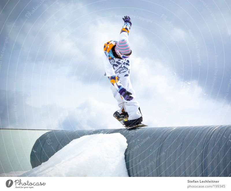 yeeeah! Lifestyle Leisure and hobbies Tourism Sports Winter sports Sportsperson Snowboard Human being Masculine Man Adults Nature Landscape Sky Clouds serfaus