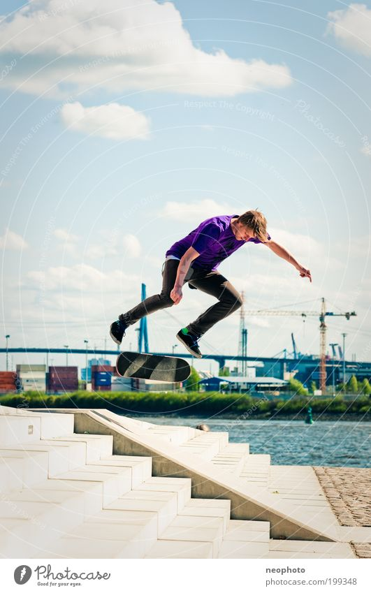 BS Flip-o-mat Elegant Leisure and hobbies Playing Sports Skateboarding Masculine Young man Youth (Young adults) 1 Human being Nature Water Sky Clouds River bank