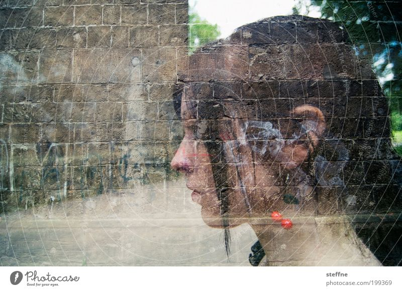 ambiguity Feminine Young woman Youth (Young adults) Head 1 Human being 18 - 30 years Adults Beautiful Meditative Earring Double exposure Wall (barrier) Unclear